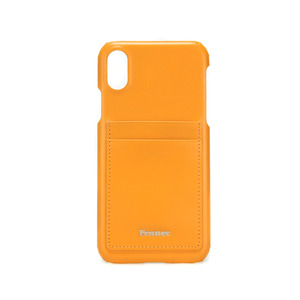 LEATHER IPHONE X CARD CASE - MANDARIN
