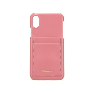 LEATHER IPHONE X CARD CASE - ROSE PINK