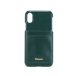 LEATHER IPHONE X CARD CASE - MOSS GREEN