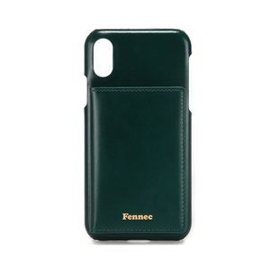 LEATHER iPHONE X/XS POCKET CASE - MOSS GREEN