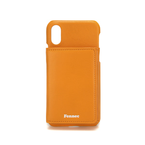 LEATHER iPHONE X/XS TRIPLE POCKET CASE - MANDARIN
