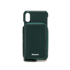 LEATHER iPHONE X/XS MINI POCKET CASE - MOSS GREEN