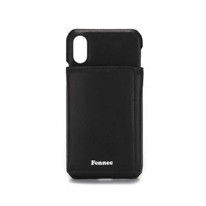 LEATHER iPHONE X/XS TRIPLE POCKET CASE - BLACK