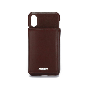 LEATHER iPHONE X/XS TRIPLE POCKET CASE - WINE