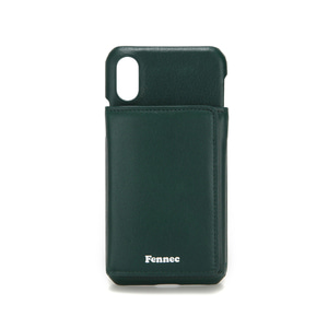 LEATHER iPHONE X/XS TRIPLE POCKET CASE - MOSS GREEN