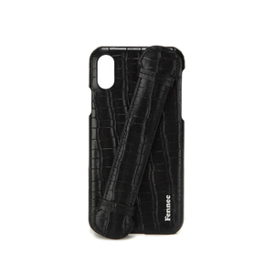 LEATHER iPHONE X/XS HANDLE CASE - CROCO BLACK