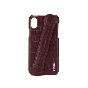 LEATHER iPHONE X/XS HANDLE CASE - CROCO WINE